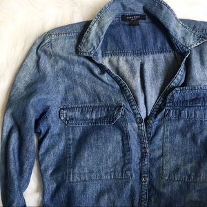 Nine West Chambray Button Down Top
